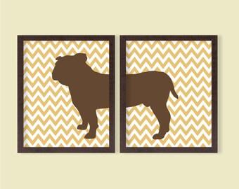 Bulldog Printable Wall Art - Set of 2 - Chevron - 8x10 - Instant Download Digital Poster, Dog, Pet Lover, Home Room Decor