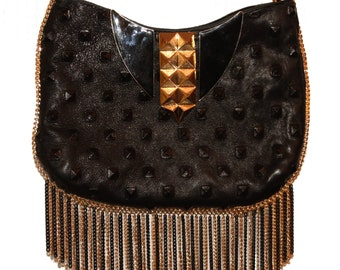 Black Leather Studded Purse