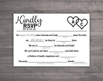 DIY Printable Wedding Mad Libs RSVP - Customize Colors