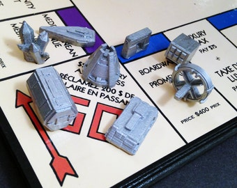 Custom 3D Printed Scifi Monopoly Game Tokens (Set of 8), Custom Monopoly Board Game Pieces, Scifi Tabletop Miniature,Scifi Board Game Tokens