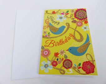 happy birthday gold glitter bird yellow background