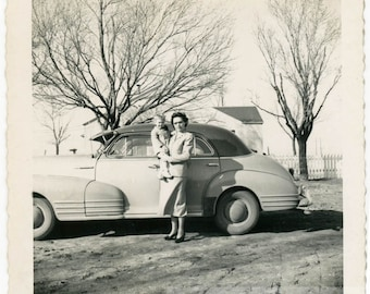vintage photo 1949 Woman Baby By Car Winter Trees Snapshot square photo