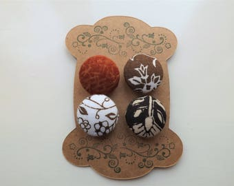 Fabric Covered Buttons- Rustic Florals