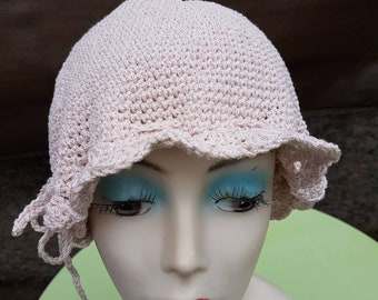 Great summer Hat cloche hat with scalloped edge in shiny nude yarn