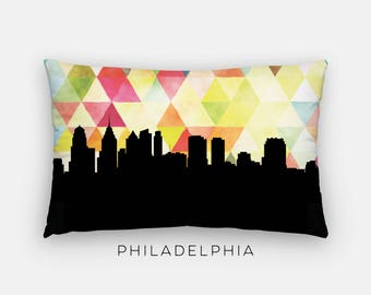Philadelphia skyline home decor | yellow Philadelphia Pennsylvania pillow | Philadelphia skyline pillow | geometric | geometric home decor