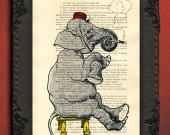 Circus elephant, elephant art print, bellboy drawing, elephant illustration prints on book pages, vintage elephants artwork