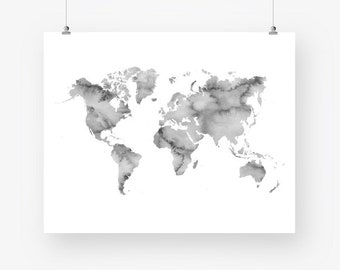 watercolor world map print gray printable world map of the world neutral colors wall decor digital print instant download world map poster