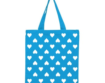 Turquoise Happy Hearts Cotton Tote, Market Tote, Cotton Tote with Hearts, Turquoise Market Tote, Grocery Tote, Tote Bag, Gift for Her