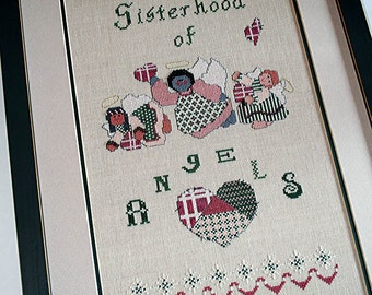 Framed Cross Stitch, Completed Needlework, Finished Sampler, Angel Cross Stitch, Sisterhood of Angels by Something In Common