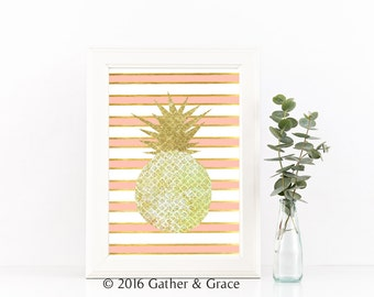 Pink Pineapple Art, Pineapple sign, Be a Pineapple sign, Pink art, Printable art, Office Printable, Instant Download, Pineapple, Wall Art