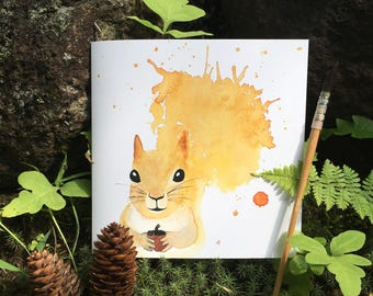 """Squirrel"" handmade watercolor greeting cards 2 * 2 Greetings cards ""Squirrel"" handmade watercolor"