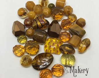 Copper and bronze bead mix, 30 beads, glass, resin, ceramic, plastic