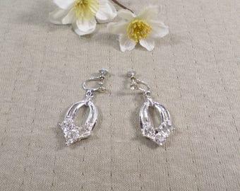 Beautiful Vintage Silver Tone Pair Of Rhinestone Dangle Screw Back Earrings  DL# 4478