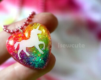 "Unicorn Neon Rainbow Glitter Jewelry... a sparkly heart resin glitter pendant necklace ""pink chain included"" by isewcute"