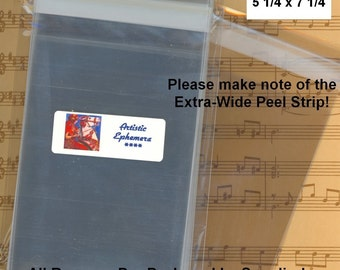 CBA7 100 BOPP Flat Cello Bags - For A7 Card & 5x7 Photos - 5 1/4 x 7 1/4 - Packaging, Storage, Organizing - Amazing Qty Discount