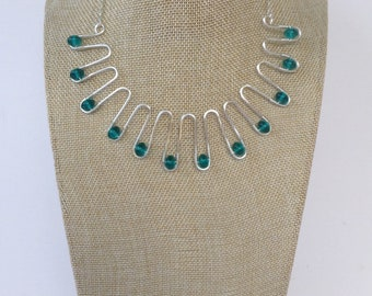 Wavy Silver Wire and Teal Necklace.     Shorter Length Necklace.
