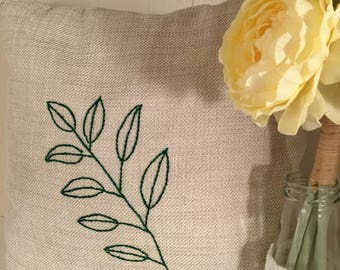Embroidered Pillow green leaf embroidered EnchDK