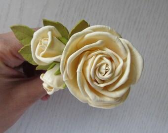Peach Rose Hairpin Peach Floral Hair Pins Bridal Rose Hairpins Peach Wedding Hairpins Rustic Hair Pins Rustic Wedding Wedding Gift For Her