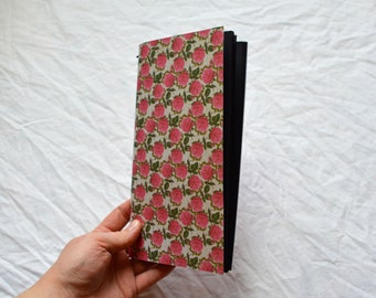 Handmade Travellers Notebook Insert: black pages, floral cover