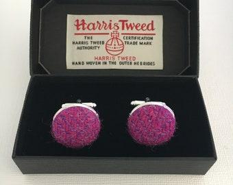 Harris Tweed Cufflinks, Cerise Pink & Purple Herringbone, Pure New Wool, Scottish Gift, Cuff Links,