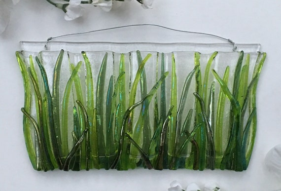 Large Horizontal Grass with or without ladybugs. Wall Art, Fused Glass, Wall Vase, Glass Pocket