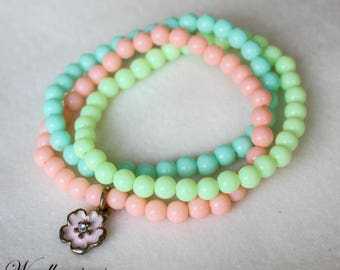 Handmade Orange Green and Lime Green Round Beads Bracelets Triple Twist With Pink Flower Pendant Come with Gift Box