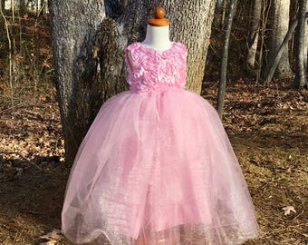 Flower Girl dress in pink roses