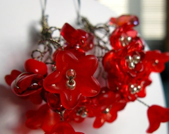 POSIES. Red flower wire tendril earrings with antique bronze wire