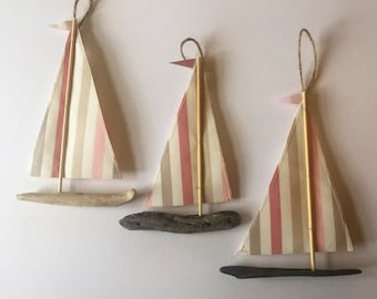 Driftwood Sailing Boat hanging decoration ~ Pink/neutral striped sails