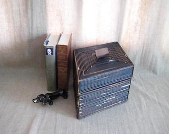 Shabby Black Keepsake Box / Reed-Covered Wooden Box / Unique Wooden Box / Urban Chic Keepsake Box