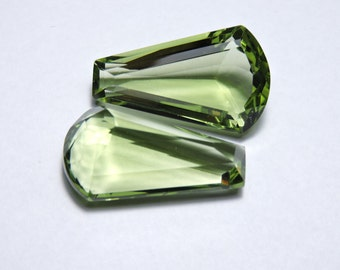 2 Pieces Beautiful Green Amethyst Quartz Faceted Fancy Shaped Loose Gemstone Size 25X15 MM