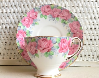 Vintage Tea Cup and Saucer Matching Set Royal Standard Rose of Sharon Fine Bone China England Pretty Flowers Gold Trim
