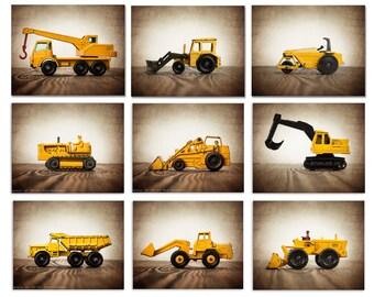 On Sale Vintage Matchbox Construction Vehicles, Set of Nine Photo prints, Nursery Decor, Boys Room Wall art