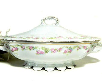 MZ Austria Habsburg China Pink Floral Oval Covered Serving Bowl