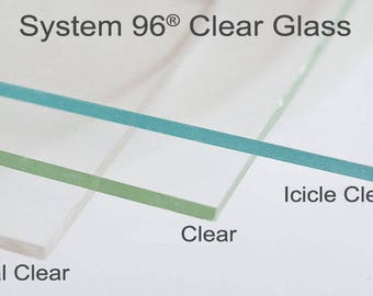 "4 Sheets 12x12"" Icicle Clear 100ICE Spectrum System 96 COE Fusing Glass Sheet"