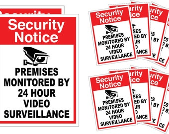 10pk Home CCTV Surveillance Security Camera Video Sticker Warning Decal Signs