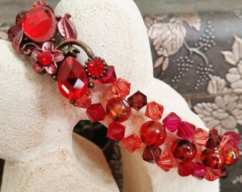 Red Swarovski Woven Cuff Bracelet, Perfect Holiday Gift