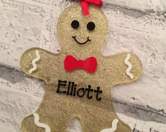 Personalised gingerbread man Christmas decoration