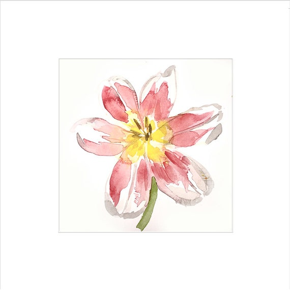 Watercolor flower painting-Bright Tulip- original by Gretchen Kelly