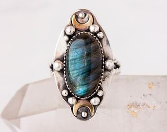Aquarius Labradorite  OOAK Ring SZ 8 in Sterling Silver