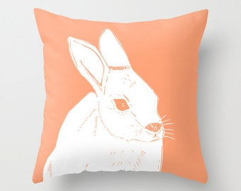 Bunny Pillow, Baby Rabbit Pillow, Easter Pillow, Spring Pillow, Rabbit Nursery Pillow, Animal Pillow, Rabbit Decor, Peach Pillow