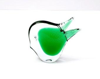 Mid Century Modern Green Clear Glass Tropical Fish FM Konstglas Ronnery Sweden