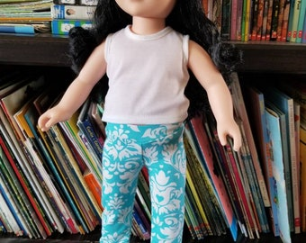 "Doll Leggings, 18"" Doll Clothes, Blue Damask Heart Doll Pants, Girl Doll Clothing"