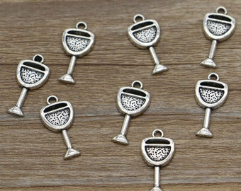 50pcs Wine Glass Cup Charms Drink Charm Antique Silver Tone 9x20mm cf1802
