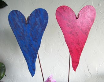 "Metal Heart Garden Art Stakes Rose Red Blue Purple Hearts Yard Decor Recycled Metal Valentine Wedding Anniversary 5"" x 8"""