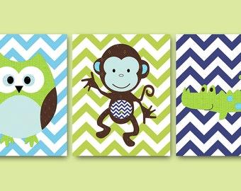 Monkey Nursery Crocodile Owl Nursery Baby Nursery Decor Baby Boy Nursery Kids Wall Art Baby Room Decor Nursery Print set of 3 Blue Green