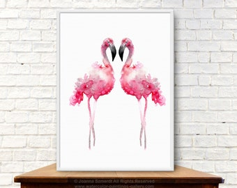 Flamingos Watercolor Painting Animal Pink Home Decor Pink Bird Giclee Print