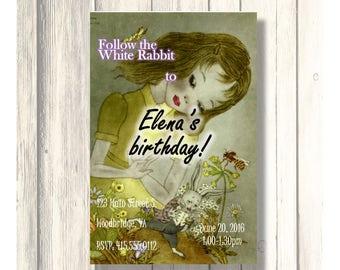 Follow the White Rabbit Alice Vintage Birthday Invitation/Card Customizable - Printable Digital Download