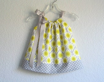 Baby Girls Yellow and Gray Pillowcase Dress - Organic Cotton Dress & Bloomers Outfit - Babies Floral Dress - Size Nb, 3m, 6m, 9m, 12m or 18m