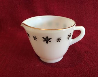 Pyrex JAJ Gaiety Black Snowflake Milk Jug or Creamer 1960's